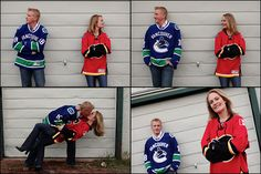 Calgary Flames bride versus Vancouver Canucks groom...I love this! Very, very cute hockey themed engagement photos.