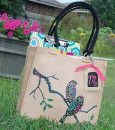 Burlap Tote-this is so cute! grocery bag or use it for diaper/toy tote at Grammy's house.