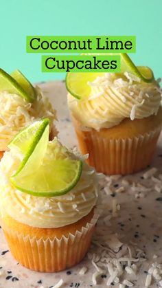Fun Baking Recipes, Sweet Recipes, Cooking Recipes, Easy Cupcake Recipes, Summer Dessert Recipes, Delicious Desserts, Yummy Food, Coconut Lime Cupcakes, Lemon Cupcakes