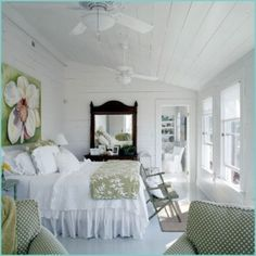 Pretty green & white bedroom