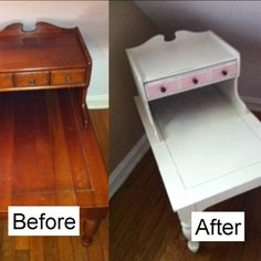 Guest Room side table painted with ASCP Old White, drawer in a pink I mixed with Emperor's Silk and Old White.. Then waxed with clear wax.