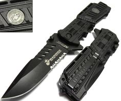 U.S. MARINES Knife Licensed USMC MARINES Assisted Military Knives BLACK Tactical Tanto Knife Officially licensed USMS rescue knife. It has a black stainless s