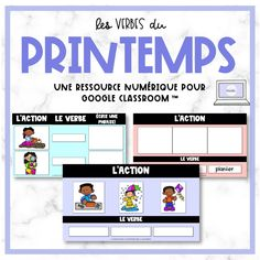 FRENCH Spring Verb Game - Les verbes du printemps for Google Classroom™ French Verbs, Verb Games, Google Platform, French Resources, Different Games, Language Activities, Learning Games, Google Classroom, French Language