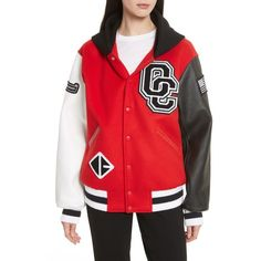 Women's Opening Ceremony Hooded Varsity Jacket (180 KWD) ❤ liked on Polyvore featuring outerwear, jackets, jewel red, letterman jackets, logo jackets, draped jackets, zipper jacket and opening ceremony jacket