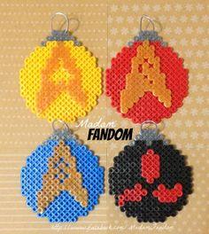 Star Trek Christmas Tree Ornaments, Set of 4 perler beads by MadamFandom http://www.facebook.com/MadamFandom