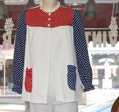 Vintage 1970's Red White Blue Smock Top Blouse by Dune Deck  - Size Small | eBay
