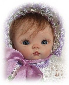 OOAK Hand Sculpted Mini Polymer Clay Baby GIRL Doll Miniature