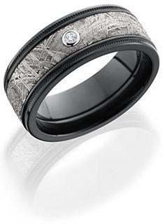 Lashbrook Z8.5FGEW2UMIL15/METEORITEDIA.05B Diamond, Meteorite Inlay, and Black Zirconium Wedding Band