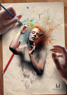 Brazilian digital artist-illustrator Tullius Heuer blends simulated pencil art with photography to create dramatic masterpieces. Self-taught artist combines his pencil art simulations with photo manipulations in Photoshop 3d Pencil Drawings, Art Drawings, Pencil Art, Photomontage, Speed Art, Photoshop, Montage Photo, Famous Art, Fantastic Art