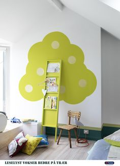 Beautiful green tree bookshelf for Kids bedroom - This is so neat! Tree Bookshelf, Bookshelves Kids, Bookshelf Ideas, Tree Shelf, Bedroom Bookshelf, Narrow Bookshelf, Ladder Bookcase, Ideas Para Organizar, Deco Design