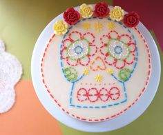 embroidered skull cake for cinco de mayo