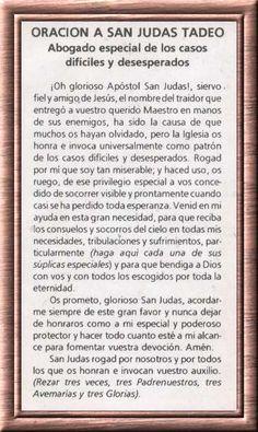 Novena a san Judas Tadeo God Prayer, Prayer Quotes, Daily Prayer, Faith Quotes, Spiritual Prayers, Spiritual Messages, Catholic Prayers In Spanish, Easter Prayers, Miracle Prayer