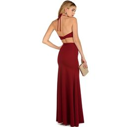 Alternate View - Promo- Burgundy Strappy Two Piece Dress