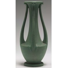 Teco Pottery - Three-Handled Vase. Matte Glazed Pottery. Chicago, Illinois. Circa 1900.