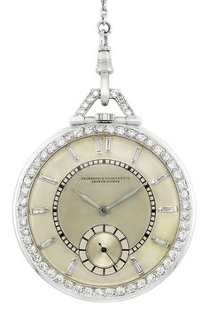 Art Deco Platinum and Diamond Open Face Pocket Watch, with Diamond and Black Onyx Chain 58 diamonds signed Vacheron Constantin, Geneve, 1930 Antique Watches, Antique Clocks, Vintage Watches, Bijoux Art Deco, Art Deco Jewelry, Fine Jewelry, Jewellery, Antique Jewelry, Vintage Jewelry