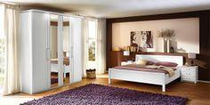 Schlafzimmer SAPHIR in Weiß Matt bestehend aus: Drehtürenschrank: 4-türig, ca. 200 x 222 x 62 cm, Doppelbett: ca. 180 x 200 cm, Nachtschränke: 52 x 52 x 40 cm