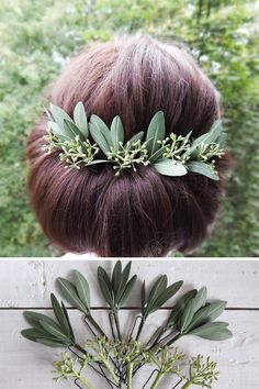 Green olive leaves hair pins Seeded eucalyptus hair piece Greenery wedding hair Green olive leaves h Wedding Hair Pins, Wedding Hair Down, Bridal Hair, Seeded Eucalyptus, Olive Green Bridesmaid Dresses, Grecian Wedding, Floral Hair, Wedding Hair Accessories, Up Dos