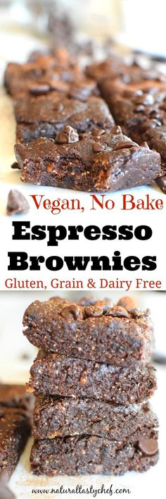 Vegan No Bake Espresso Brownies These fudgy brownies are gluten-free grain-free and dairy-free easy to make with no baking required and have a hint of espresso! Theyre vegan and make the perfect snack or dessert any day of the week. Source by simplyquinoa Vegan Dessert Recipes, Dairy Free Recipes, Brownie Recipes, Healthy Desserts, Real Food Recipes, Gluten Free, Vegan Sweets, Chef Recipes, Meatless Recipes