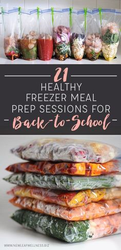 21 HEALTHY FREEZER MEAL PREP SESSIONS FOR BACK-TO-SCHOOL. Simply combine the ingredients in a gallon-sized bag and freeze. I tried all of these recipes and they're healthy and delicious!