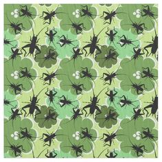 Bugs lovers! Cricket pattern and underlying green floral pattern fabric