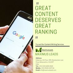 Content Writing Services Pune helps to decorate your website with quality content. Our professional content writers are ready to write unique content for your business in very simple way. Content plays important role for converting visitor into lead. For More deatils visit: http://maximusleads.com/content-writing-services-company.html