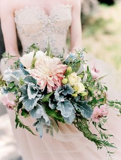 Dahlia and Dusty Miller Bouquet | photography by http://www.lisaodwyer.com