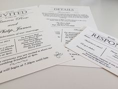 Simple Gatsby Invitation Sample by BespokeByES on Etsy