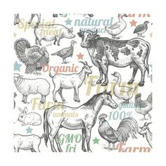 Art Print: Seamless Pattern with Livestock, Poultry, Inscriptions. Farm Birds and Animals in the Style of Vint by mamita : Clip Art Library, Vintage Farm, Hobby Farms, Livestock, Gradient Color, Watercolor Paper, Farm Animals, Vivid Colors, Find Art