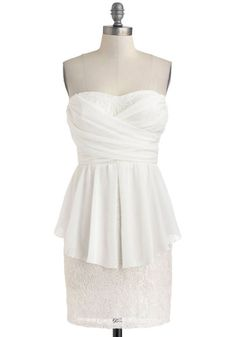 Dancing Beneath the Petals Dress - Short, White, Solid, Lace, Party, Peplum, Strapless, Sweetheart, Tiered, Ruching, Girls Night Out, Bodycon / Bandage