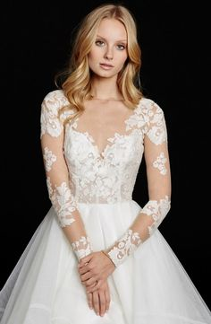 Hayley Paige 'Elysia' Long Sleeve Lace & Tulle Ballgown ($3,995)