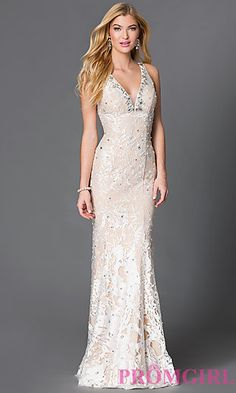 Floor Length V-Neck Embroidered Lace JVN by Jovani Prom Dress at PromGirl.com