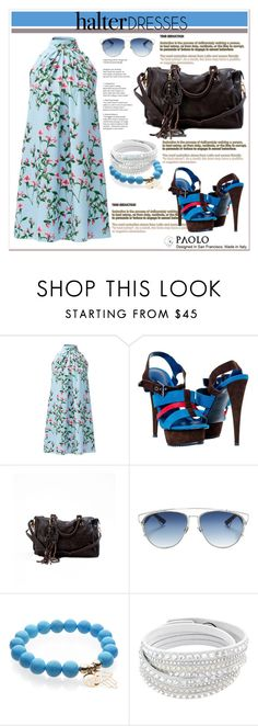 """Halter Dresses and PaoloShoes"" by spenderellastyle ❤ liked on Polyvore featuring Cynthia Steffe, Christian Dior and halterdresses"