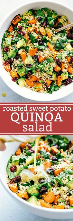 Fresh and healthy roasted sweet potato and quinoa salad made with spinach and avocados. A healthy and delicious lemon vinaigrette dressing coats this salad. chelseasmessyapron.com