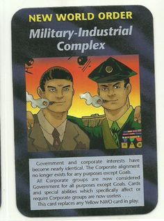 Military Industrial Complex NWO Illuminati CCG Assassins Plot Card. Illuminati: New World Order (INWO) is a collectible card game (CCG) that was released in 1995[1] by Steve Jackson Games, based on their original boxed game Illuminati, which in turn was inspired by The Illuminatus! Trilogy. INWO won the Origins Award for Best Card Game in 1997.