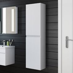 Tall bathroom cabinets are your perfect bathroom space saver! From white, grey, walnut, oak & yellow, find the perfect tall bathroom storage cabinet for you. Wall Mounted Bathroom Cabinets, White Bathroom Cabinets, Brown Bathroom, Modern Bathroom, Bathroom Ideas, Grey Bathrooms, Simple Bathroom, Bathroom Vanities, Bathroom Tallboy