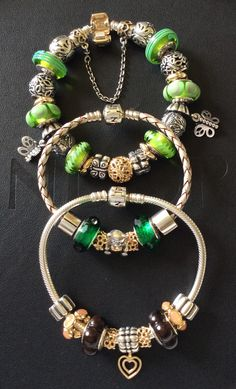 PANDORA Bracelets Set with Beautiful Green Murano and Gold Charms ♡