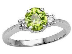Genuine Peridot and Diamond Engagement Ring diamond and peridot engagement ring