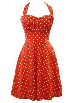 fc0d7f4c2e2 Sidecca Retro 1950s Polka Dot Smock Halter Swing Dress-Red-Medium at Amazon  Women s