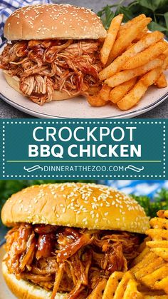 Crockpot BBQ chicken has just 4 ingredients and is super easy to make! Cheesy Recipes, Chicken Recipes, Healthy Recipes, Bbq Chicken Bites Recipe, Chicken Crockpot Recipe, Bbq Chicken Sandwich, Crockpot Bbq Pulled Chicken, Sides For Bbq Chicken, Crockpot Chicken Dinners