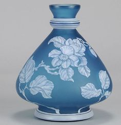Blue Flower Vase - English Cameo Antique Glass