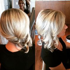 Brenda-Ottawa hairstylist at precision styling Up do. Side up do. Blonde Curls Medium length hair updo