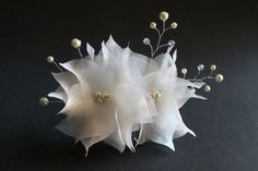 Bridal Flower Hair Comb Set of Two Ivory Organza by bridalcove, $42.00