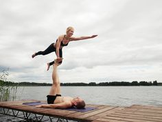 AcroYoga - slacro!  more at: www.facebook.com/acroadamczyk  #acroyoga #acro #yoga #lake #fun #forest #high