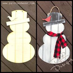 Do you want to build a snowman? This DIY Snowman Door Hanger has 2 feature pieces and grooves etched in to give it a shiplap look. Our door hangers are professionally laser cut from a smooth Christmas Wood Crafts, Christmas Projects, Holiday Crafts, Christmas Crafts, Christmas Decorations, Wooden Snowman Crafts, Winter Wood Crafts, Pallet Snowman, Wooden Snowmen
