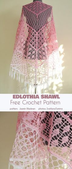 Ediothia Shawl Free Crochet Pattern von - - > Morben Design The Edlothia shawl is a beautiful, diaphanous and gauzy shoulder throw most evocative of a dragonfly wing. The delicate color gradient beautifully highlights the 'almost-not-there' Crochet Shawl Free, Crochet Gratis, Crochet Shawls And Wraps, Crochet Stitches, Knit Crochet, Free Lace Crochet Patterns, Crochet Bolero Pattern, Needlepoint Stitches, Crochet Clothes