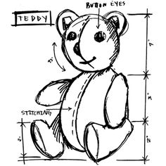 Tim Holtz Rubber Stamp 2015 TEDDY SKETCH Stampers Anonymous U22622