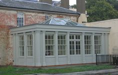 1 star - boxy + too fussy windows + all the same material - Heritage Conservatories, Conservatory designer and builder Orangery Extension, Conservatory Design, House Extension Design, Extension Ideas, Outdoor Rooms, Outdoor Decor, Bungalow Homes, Old Windows, House Extensions