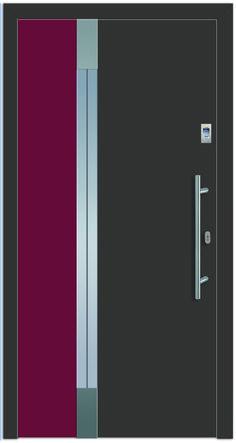 Modell Deneb 1 Aluminium-Eingangstüre in grau/rot - Außenansicht! Sternstunden-Türen erhätlich bei Fenster-Schmidinger aus Gramastetten in Oberösterreich! #doors #türen #alutüren #sternstunden