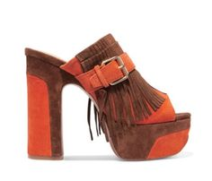 Byblos Fringed Suede Mules