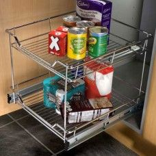 Pull Out Chrome Linear Storage Baskets, for 300mm - 500mm Cabinet Width